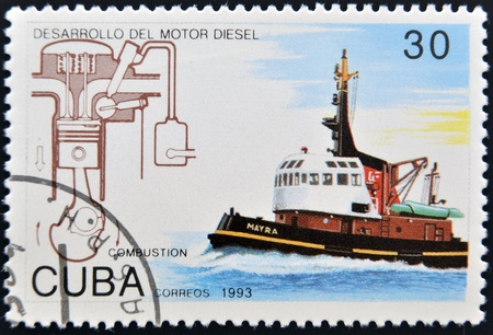 CUBA - CIRCA 1993: A stamp printed in Cuba dedicated to Diesel engine development, shows ship, circa 1993 photo