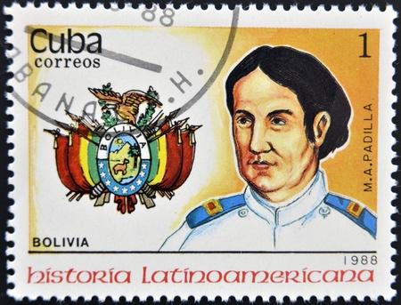 padilla: CUBA - CIRCA 1988:A stamp printed in Cuba shows chief M. A. Padilla, Bolivia, circa 1988