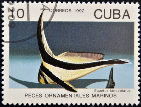 lanceolatus: CUBA - CIRCA 1992: A stamp printed in Cuba dedicated to ornamental fish, shows equetus lanceolatus, circa 1992