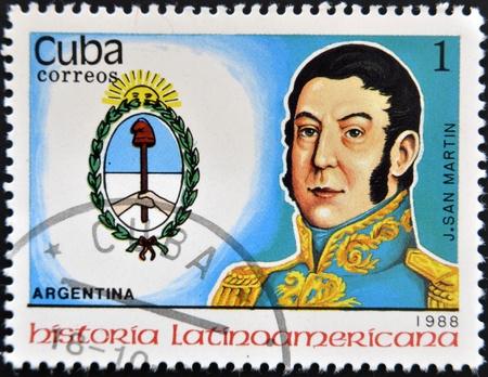 CUBA - CIRCA 1988: stamp printed in Cuba, shows San Martin, Argentina, circa 1988.  Stock Photo - 13289445