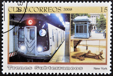 CUBA - CIRCA 2008: A stamp printed in Cuba dedicated to subways, shows the New York subway, circa 2008 Stock Photo - 13292078
