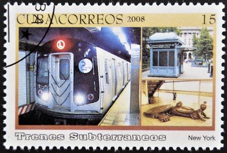CUBA - CIRCA 2008: A stamp printed in Cuba dedicated to subways, shows the New York subway, circa 2008 Stock Photo - 13292078