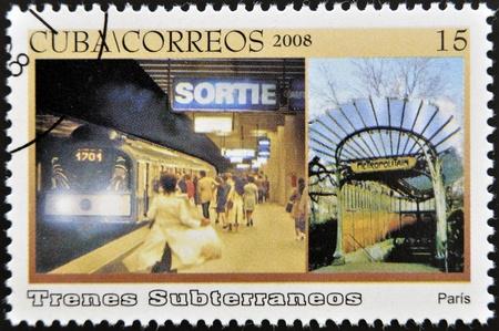 CUBA - CIRCA 2008: A stamp printed in Cuba dedicated to subways, shows Paris subway, circa 2008 Stock Photo - 13292107