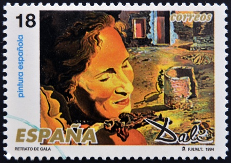 SPAIN - CIRCA 1994: A stamp printed in Spain shows portrait of Gala by Salvador Dali, circa 1994 Stock Photo - 13289199