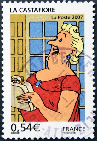cancelled stamp: FRANCE - CIRCA 2007: A stamp printed in France shows The Castafiore Emerald, circa 2007 Editorial