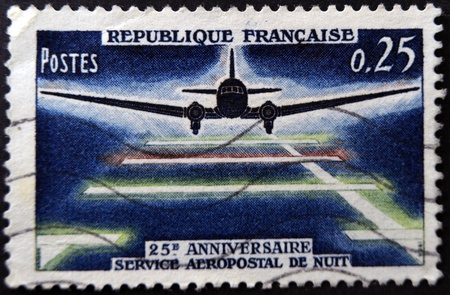 FRANCE - CIRCA 1964: A stamp printed in France dedicated to 25 anniversary night postal service in France, circa 1964