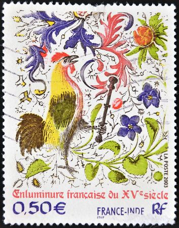 FRANCE - CIRCA 2003: A stamp printed in France shows Joint Issue by France and India - French Illumination of the 15th Century, circa 2003 Stock Photo - 13291999