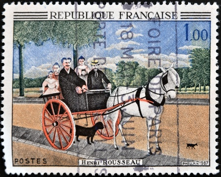 henri: FRANCE - CIRCA 1967: A stamp printed in France shows Father Juniets Gig.  by Henri Rousseau, circa 1967  Stock Photo
