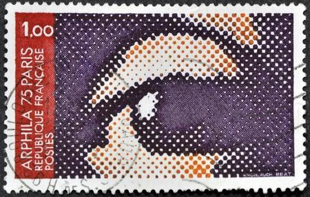 FRANCE - CIRCA 1974: stamp printed in France, shows ARPHILA emblem, circa 1974  photo