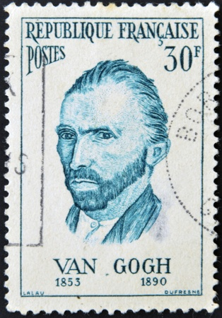 van gogh: FRANCE - CIRCA 1950: A stamp printed in France shows self-portrait of the artist Van Gogh, circa 1950
