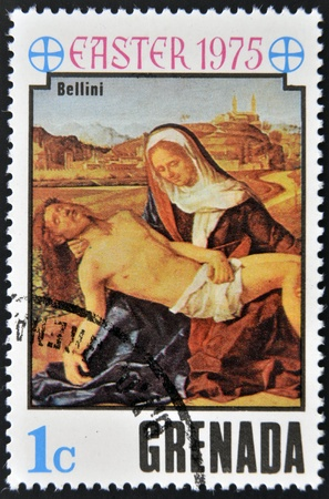 grenada: GRENADA - CIRCA 1975: A stamp printed in Grenada shows La pieta  by Bellini, circa 1975