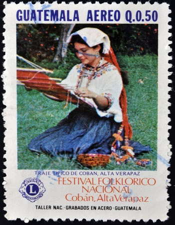 GUATEMALA - CIRCA 1980: A stamp printed in Guatemala shows Costume of Coban, Alta Veracruz, circa 1980 Stock Photo - 13289157