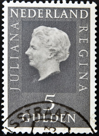 NETHERLANDS - CIRCA 1979: A stamp printed in the Holland shows image of Queen Juliana, circa 1979  Stock Photo - 13289063