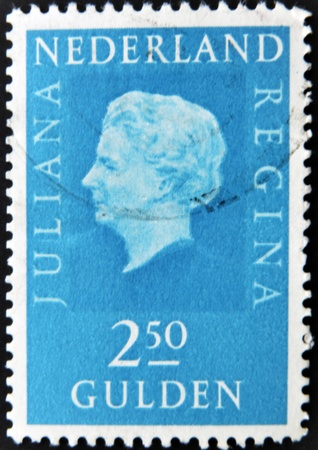gulden: HOLLAND - CIRCA 1969: A stamp printed in the Netherlands showing a portrait of Queen Juliana, circa 1969.