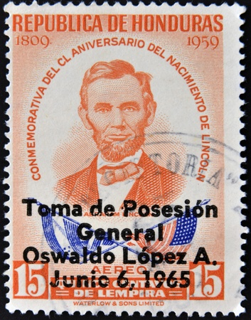 HONDURAS - CIRCA 1965: A stamp printed in Honduras shows Abraham Lincoln, circa 1965
