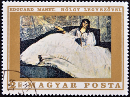 HUNGARY - CIRCA 1969: stamp printed in Hungary, shows Lady with Fan, by Edouard Manet, circa 1969