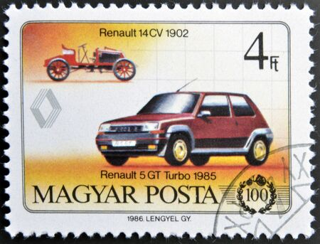 HUNGARY - CIRCA 1986: A stamp printed in Hungary shows Renault 5 GT Turbo 1985 and Renault 14 CV 1902, circa 1986
