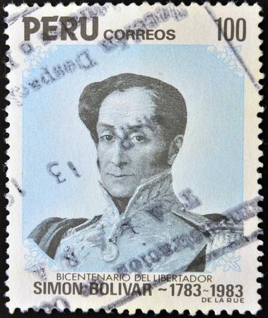 the liberator: PERU '- CIRCA 1983: Un timbro stampato in Per� mostra ritratto generale Simon Bolivar, liberatore, circa 1983
