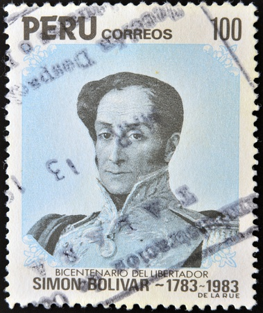 PERU - CIRCA 1983: A Stamp printed in Peru shows portrait general Simon Bolivar -liberator, circa 1983