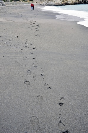 couples footprint on beach  photo