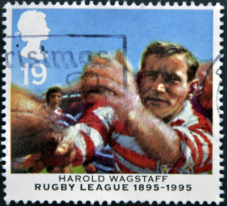 UNITED KINGDOM - CIRCA 1995: a stamp printed in the Great Britain shows Harold Wagstaff, Centenary of Rugby League, circa 1995
