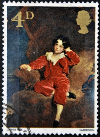 UNITED KINGDOM - CIRCA 1967: A stamp printed in Great Britain shows the young Lambton by Sir Thomas Lawrence, circa 1967 Stock Photo - 13289415
