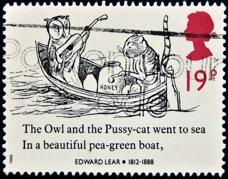 UNITED KINGDOM - CIRCA 1988: a stamp printed in the Great Britain shows The Owl and the Pussycat in a Boat, Drawing by Edward Lear, circa 1988 Stock Photo - 13291733