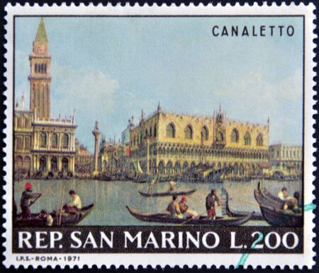 marco: SAN MARINO - CIRCA 1971: A stamp printed in San Marino shows View of the San Marco Basin on the Molo by Canaletto, circa 1971 Stock Photo