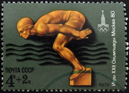 USSR - CIRCA 1978: Stamp, printed to Russia dedicated to XXII Olympic games in Moscow in 1980, shows swimming, circa 1978