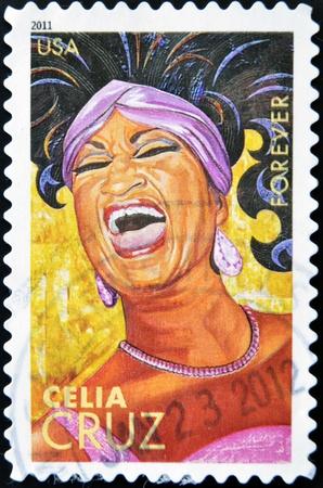 UNITED STATES OF AMERICA - CIRCA 2011: A stamp printed in USA shows Celia Cruz, circa 2011 Stock Photo - 13288858