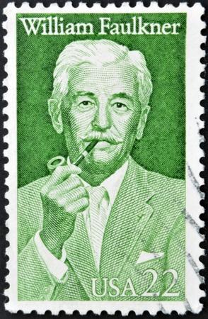 commemorate: UNITED STATES OF AMERICA - CIRCA 1987 : A stamp printed in USA shows writer William Cuthbert Faulkner, circa 1987