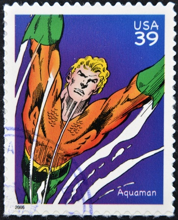 marvel: UNITED STATES OF AMERICA - CIRCA 2006: stamp printed in USA shows Aquaman, circa 2006