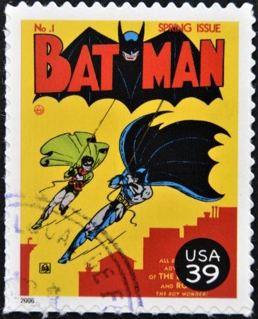 comics: UNITED STATES OF AMERICA - CIRCA 2006: stamp printed in USA shows Batman and Robin, circa 2006  Editorial