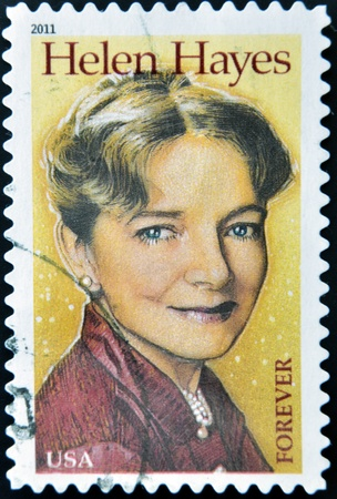 helen: UNITED STATES OF AMERICA - CIRCA 2011: A stamp printed in USA shows Helen Hayes, circa 2011