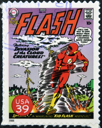 marvel: UNITED STATES OF AMERICA - CIRCA 2006: stamp printed in USA shows Flash, circa 2006