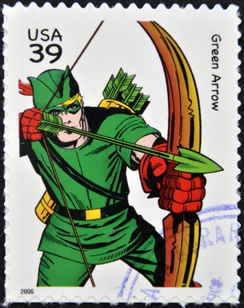 archer cartoon: UNITED STATES OF AMERICA - CIRCA 2006: stamp printed in USA shows Green Arrow, circa 2006  Editorial