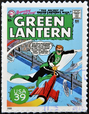 marvel: UNITED STATES OF AMERICA - CIRCA 2006: stamp printed in USA shows Green Lantern, circa 2006