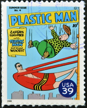 UNITED STATES OF AMERICA - CIRCA 2006: stamp printed in USA shows Plastic Man, circa 2006
