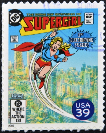 UNITED STATES OF AMERICA - CIRCA 2006: stamp printed in USA shows Supergirl, circa 2006  Stock Photo - 13289462