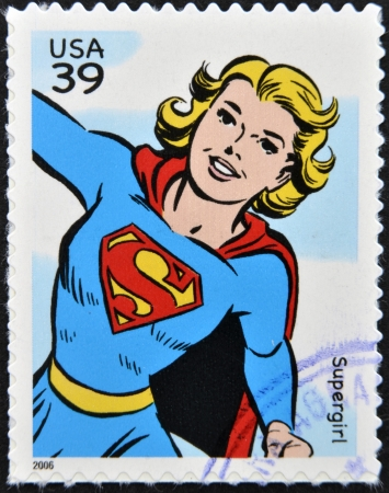 supergirl: UNITED STATES OF AMERICA - CIRCA 2006: stamp printed in USA shows Supergirl, circa 2006