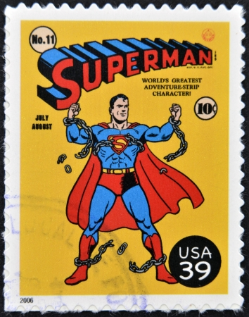 UNITED STATES OF AMERICA - CIRCA 2006: stamp printed in USA shows superman, circa 2006  Stock Photo - 13289409
