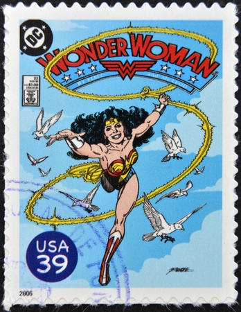 marvel: UNITED STATES OF AMERICA - CIRCA 2006: stamp printed in USA shows Wonder Woman, circa 2006