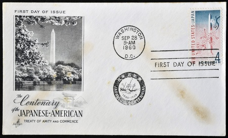 amity: UNITED STATES OF AMERICA - CIRCA 1960: A postcard printed in USA dedicated to  centenary of the japanese - american treaty of amity and commerce, shows Washington Monument, circa 1960