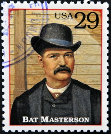 lawman: UNITED STATES OF AMERICA - CIRCA 1994 : Stamp printed in USA shows William Barclay Bat Masterson, lawman in the American Old West, circa 1994