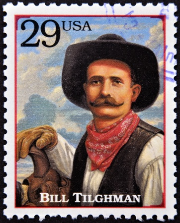 lawman: UNITED STATES OF AMERICA - CIRCA 1994 : Stamp printed in USA shows Bill Tilghman, lawman and gunslinger in the American Old West, circa 1994