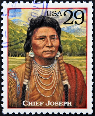 peacemaker: UNITED STATES OF AMERICA - CIRCA 1994 : Stamp printed in USA shows Chief Joseph, humanitarian and peacemaker in old West, circa 1994  Editorial