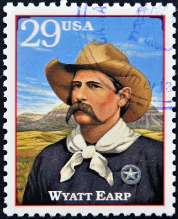 UNITED STATES OF AMERICA - CIRCA 1994 : Stamp printed in USA shows Wyatt Berry Stapp Earp, American Old West, circa 1994  Stock Photo - 13289506