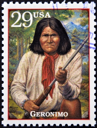 UNITED STATES OF AMERICA - CIRCA 1994: Stamp printed in USA show Geronimo, Native American leader and medicine man of the Chiricahua Apache, circa 1994
