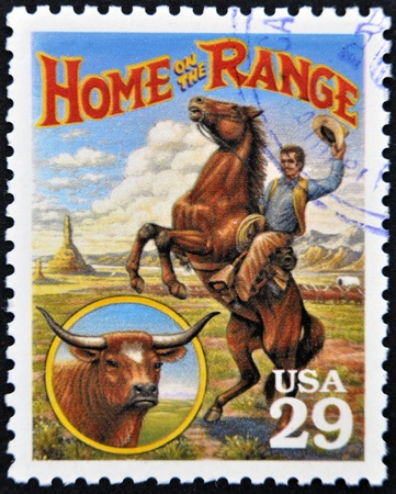 UNITED STATES OF AMERICA - CIRCA 1994: Stamp printed in USA shows Home on the Range culture in the American Old West, circa 1994