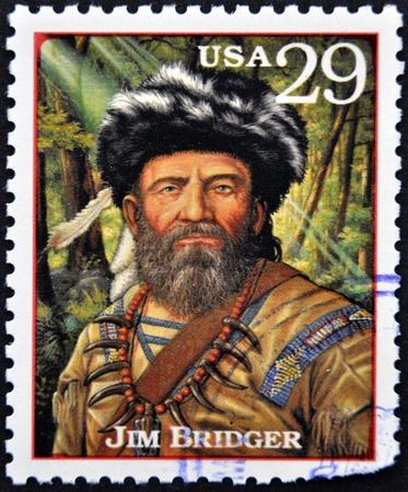 explored: UNITED STATES OF AMERICA - CIRCA 1994   Stamp printed in USA shows portrait of the Jim Bridger, circa 1994